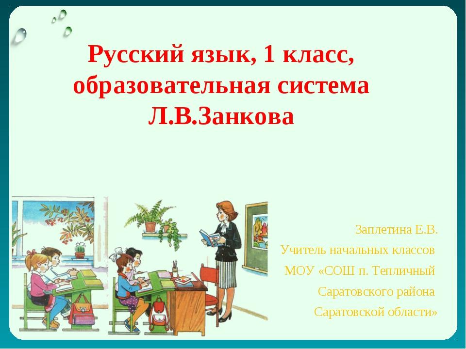 Русский язык, 1 класс, образовательная система Л.В.Занкова Заплетина Е.В. Учи...