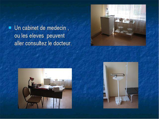 Un cabinet de medecin , ou les eleves peuvent aller consultez le docteur.