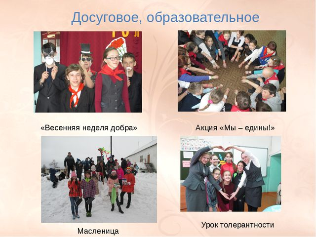Досуговое, образовательное «Весенняя неделя добра» Акция «Мы – едины!» Маслен...