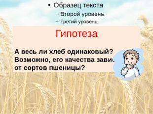 Гипотеза А весь ли хлеб одинаковый? Возможно, его качества зависят от сортов
