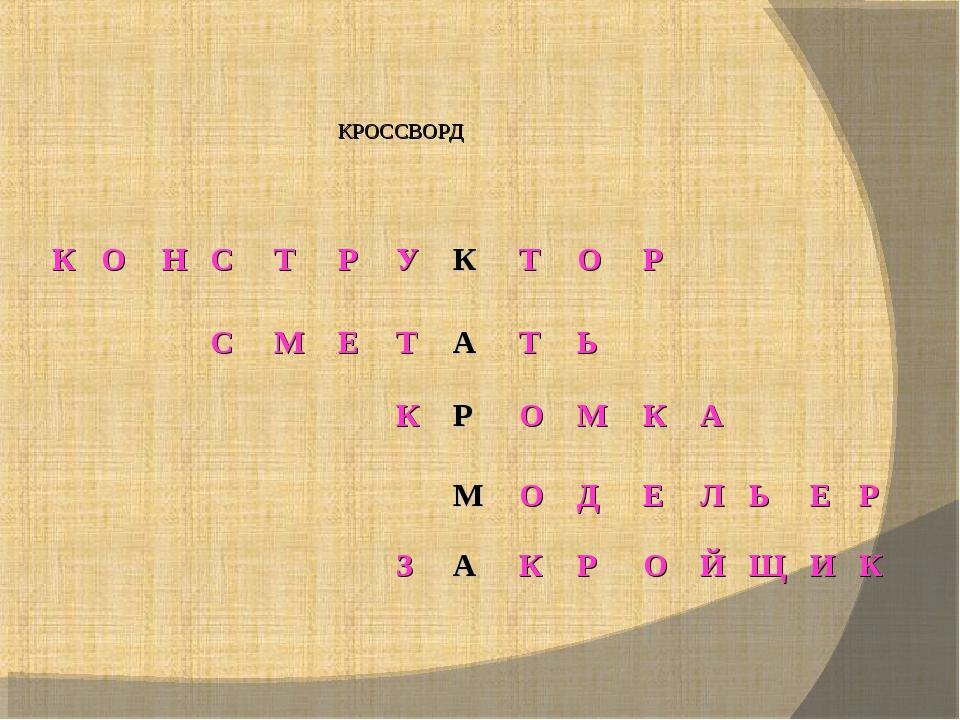 КРОССВОРД  КОНСТРУКТОР СМЕТАТЬ...