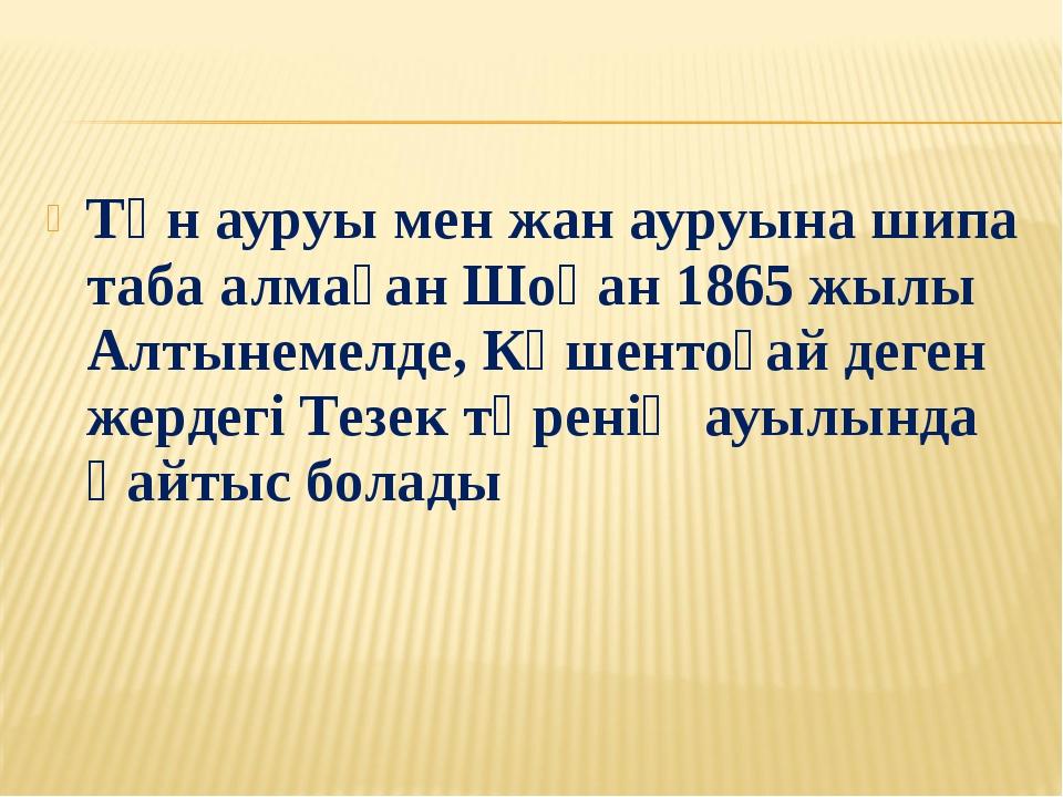 Тән ауруы мен жан ауруына шипа таба алмаған Шоқан 1865 жылы Алтынемелде, Көше...
