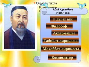 Абай Құнанбаев (1845-1904) Ұлы ақын Философ Аудармашы Табиғат лирикасы Компо