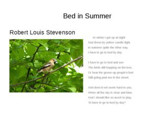 Bed in Summer Robert Louis Stevenson In winter I get up at night And dress by