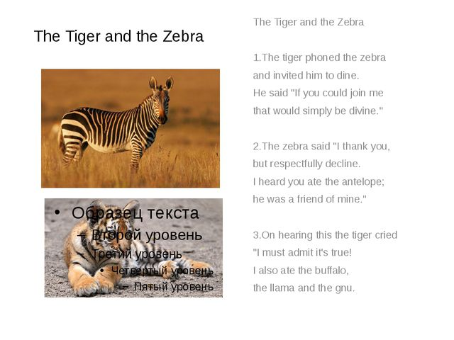 The Tiger and the Zebra The Tiger and the Zebra 1.The tiger phoned the zebra...