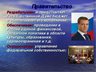Правительство Разрабатывает и представляет Государственной Думе бюджет и обес