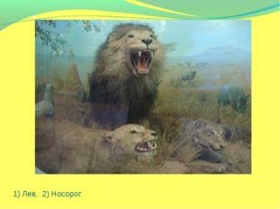 1) Лев, 2) Носорог