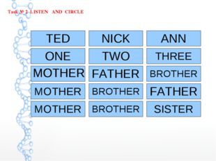 Task № 2 LISTEN AND CIRCLE TED NICK ANN ONE MOTHER MOTHER TWO FATHER THREE BR