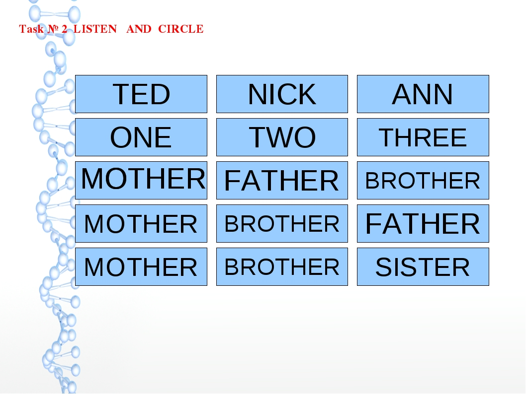 Task № 2 LISTEN AND CIRCLE TED NICK ANN ONE MOTHER MOTHER TWO FATHER THREE BR...