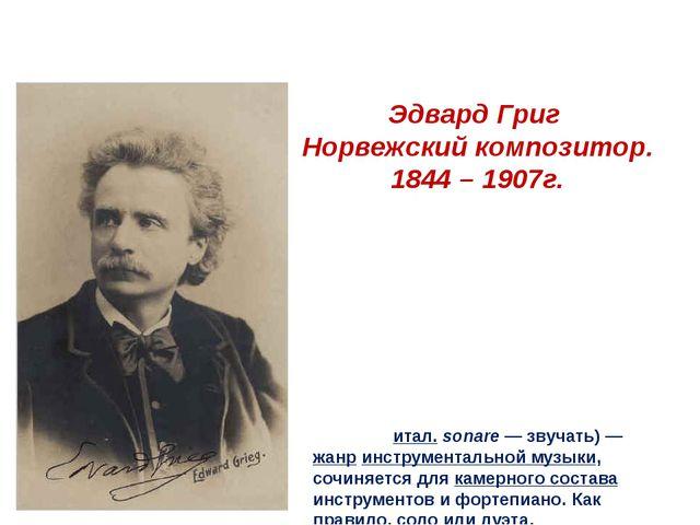 Эдвард Григ Норвежский композитор. 1844 – 1907г. Сона́та(итал.sonare— звуч...