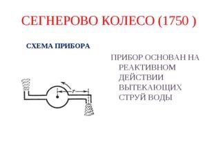 СЕГНЕРОВО КОЛЕСО (1750 ) СХЕМА ПРИБОРА ПРИБОР ОСНОВАН НА РЕАКТИВНОМ ДЕЙСТВИИ