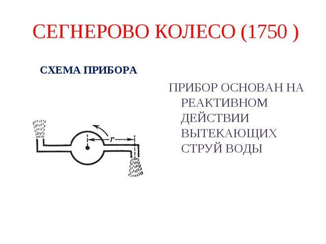 СЕГНЕРОВО КОЛЕСО (1750 ) СХЕМА ПРИБОРА ПРИБОР ОСНОВАН НА РЕАКТИВНОМ ДЕЙСТВИИ...