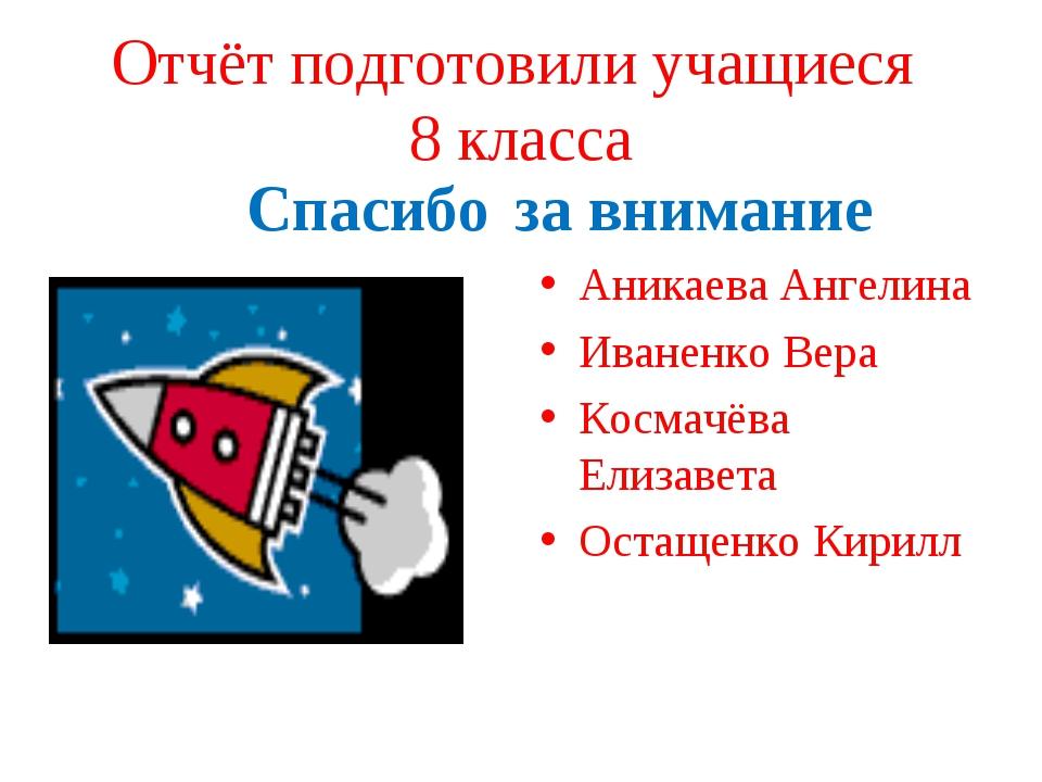 Отчёт подготовили учащиеся 8 класса Спасибо за внимание Аникаева Ангелина Ива...