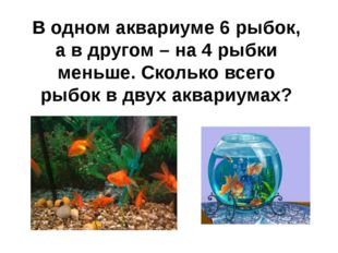 В одном аквариуме 6 рыбок, а в другом – на 4 рыбки меньше. Сколько всего рыбо