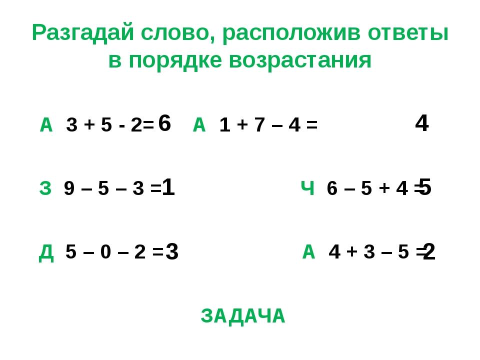 Разгадай слово, расположив ответы в порядке возрастания А 3 + 5 - 2=  А 1...