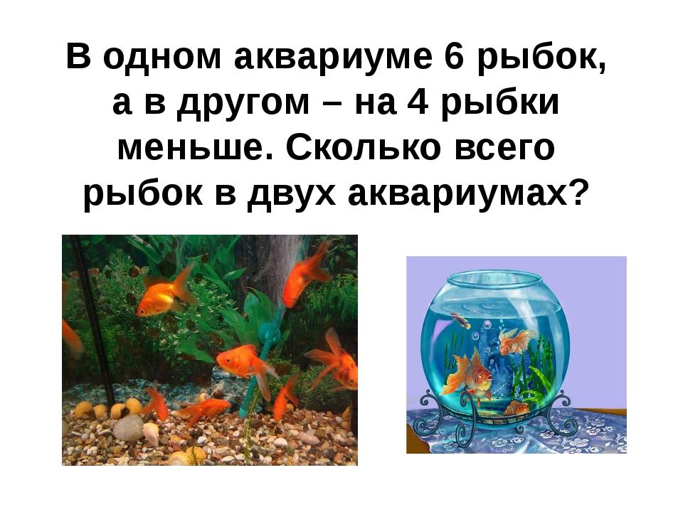 В одном аквариуме 6 рыбок, а в другом – на 4 рыбки меньше. Сколько всего рыбо...