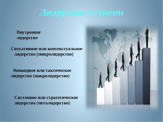 Лидерские ступени Внутреннее лидерство Ситуативное или контекстуальное лидерс...
