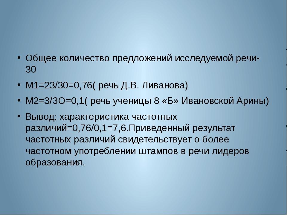 Общее количество предложений исследуемой речи-30 М1=23/30=0,76( речь Д.В. Ли...