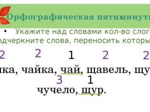 Орфографическая пятиминутка Укажите над словами кол-во слогов, Подчеркните сл