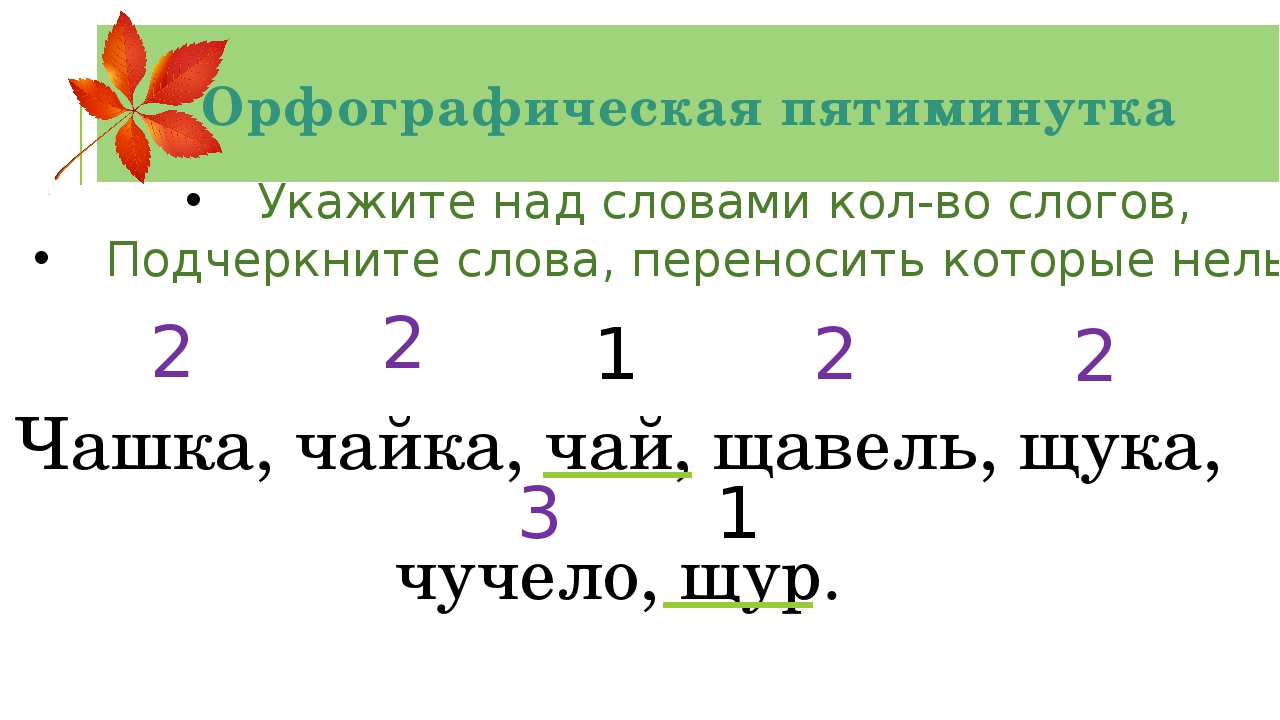Орфографическая пятиминутка Укажите над словами кол-во слогов, Подчеркните сл...
