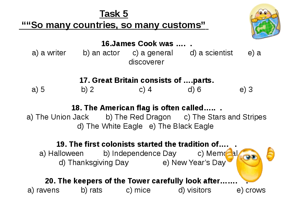 16.James Cook was …. . a) a writer b) an actor c) a general d) a scientist e...