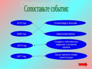 1980 год 1974 год 1977 год Была принята новая конституция 1979 год Создали со