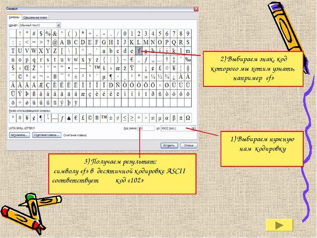 2) Выбираем знак, код которого мы хотим узнать, например «f» 1) Выбираем нужн...