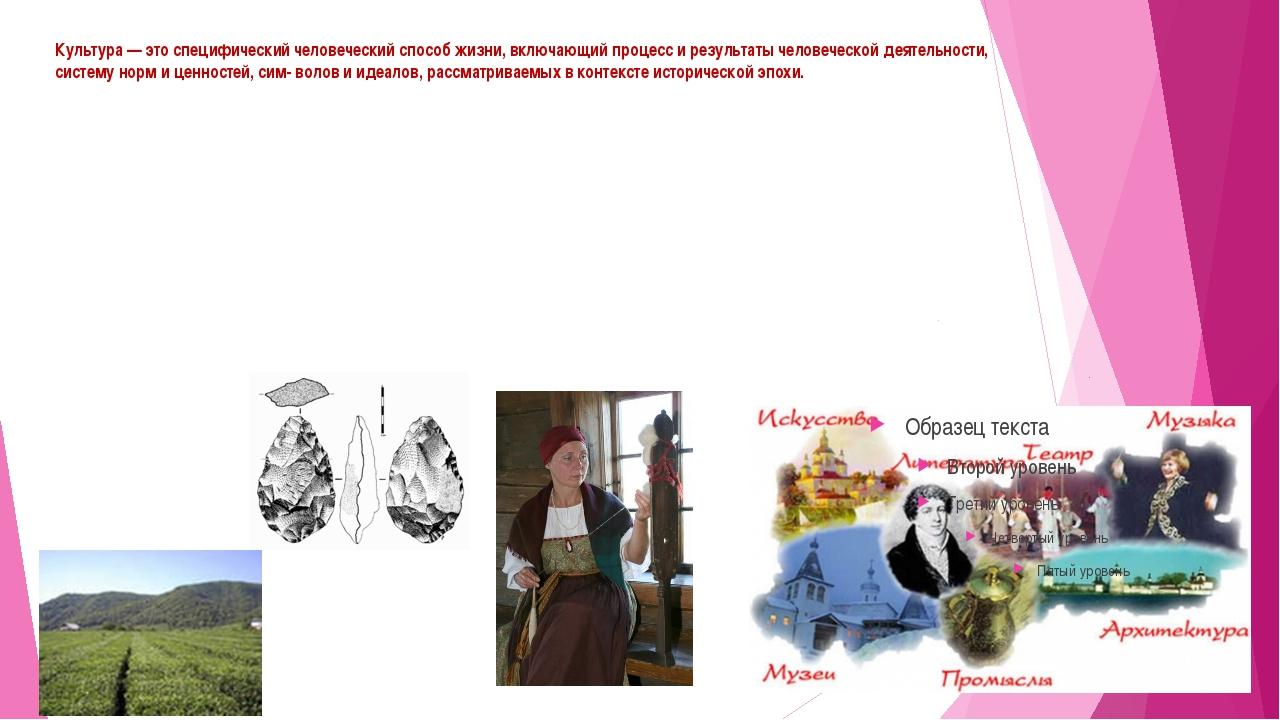 Культура — это специфический человеческий способ жизни, включающий процесс и...