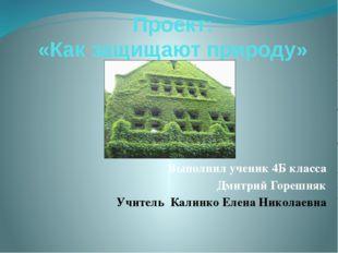 Проект: «Как защищают природу» Выполнил ученик 4Б класса Дмитрий Горешняк Учи