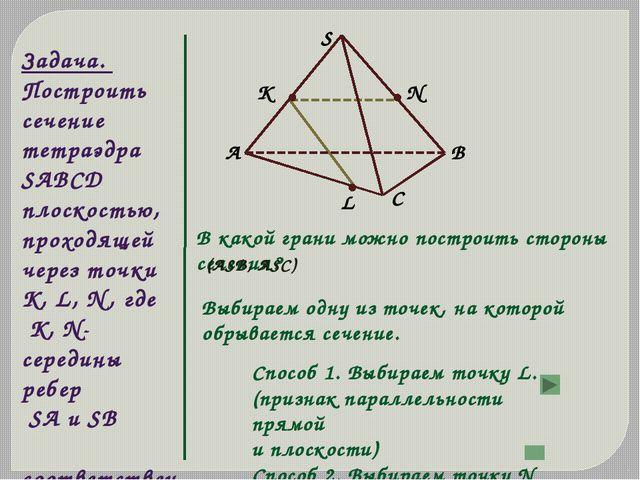 Задача. Построить сечение тетраэдра SABCD плоскостью, проходящей через точки...