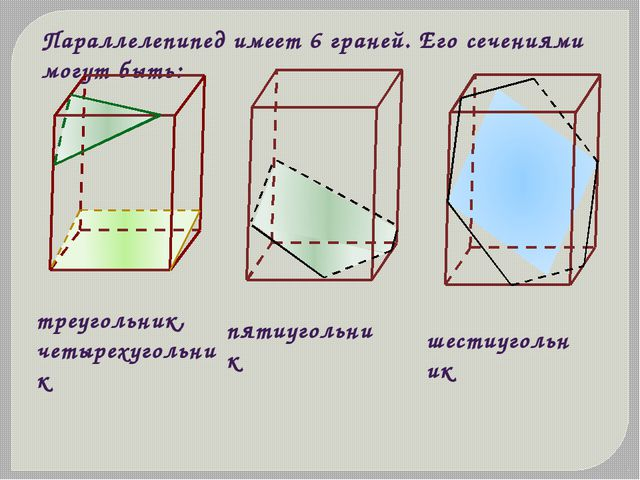 Параллелепипед имеет 6 граней. Его сечениями могут быть: треугольник, четырех...
