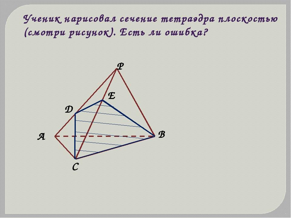 Ученик нарисовал сечение тетраэдра плоскостью (смотри рисунок). Есть ли ошибк...