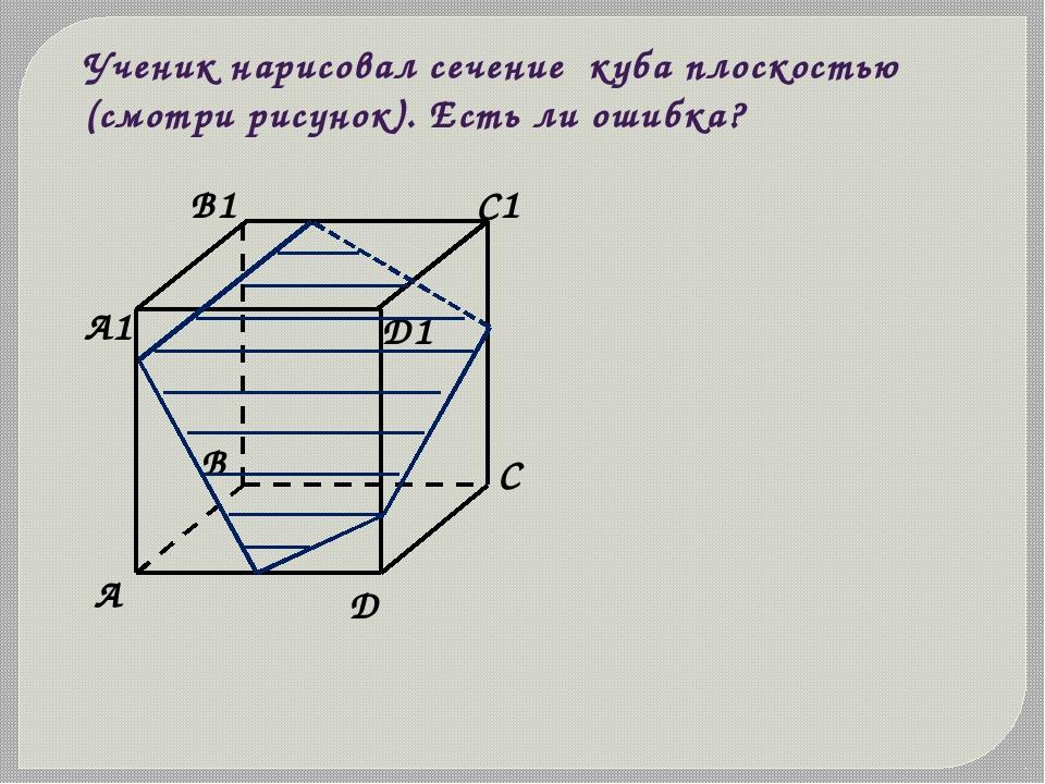 Ученик нарисовал сечение куба плоскостью (смотри рисунок). Есть ли ошибка?