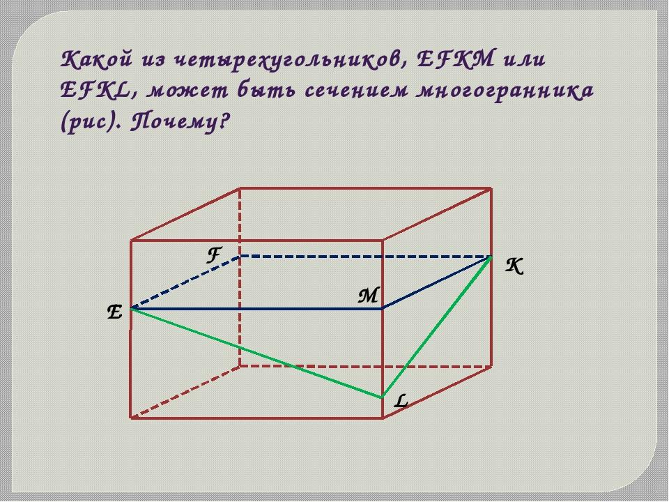Какой из четырехугольников, EFKM или EFKL, может быть сечением многогранника...