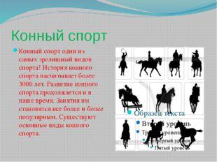 Конный спорт Конный спорт один из самых зрелищный видов спорта! История конно