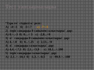 Тест тапсырмалары Тура теңсіздікті көрсет: А) -4