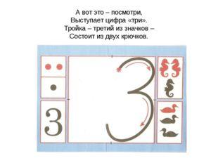 А вот это – посмотри, Выступает цифра «три». Тройка – третий из значков – Сос