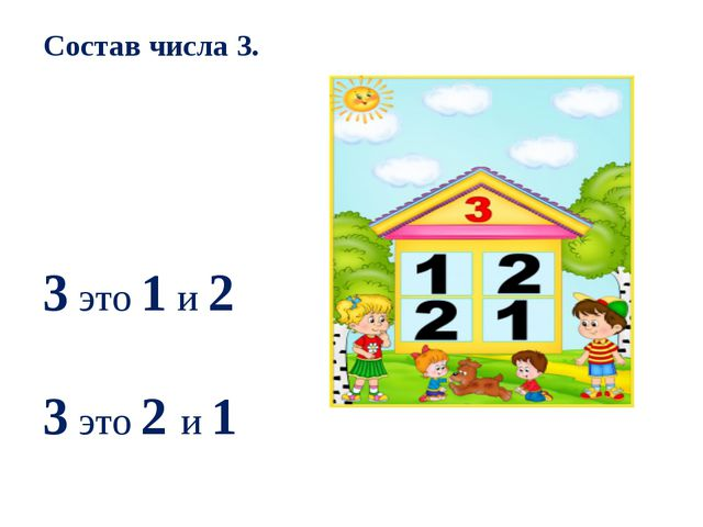 Состав числа 3. 3 это 1 и 2 3 это 2 и 1