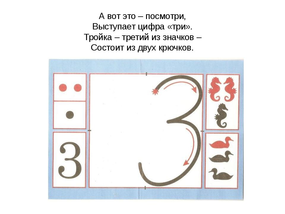 А вот это – посмотри, Выступает цифра «три». Тройка – третий из значков – Сос...