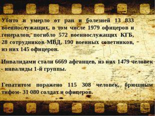 Убито и умерло от ран и болезней 13 833 военнослужащих, в том числе 1979 офиц