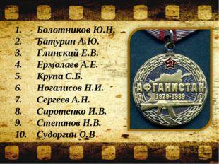 1.Болотников Ю.Н. 2.Батурин А.Ю. 3.Глинский Е.В. 4.Ермолаев А.Е. 5.Крупа