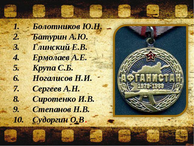 1.Болотников Ю.Н. 2.Батурин А.Ю. 3.Глинский Е.В. 4.Ермолаев А.Е. 5.Крупа...