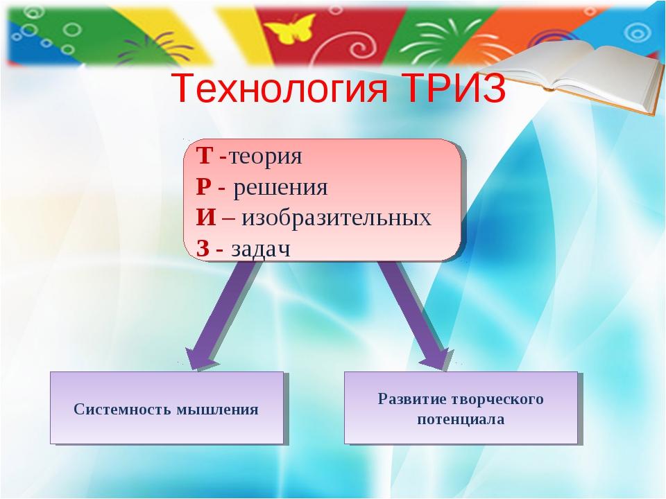 Технология ТРИЗ Системность мышления Развитие творческого потенциала Т -теори...