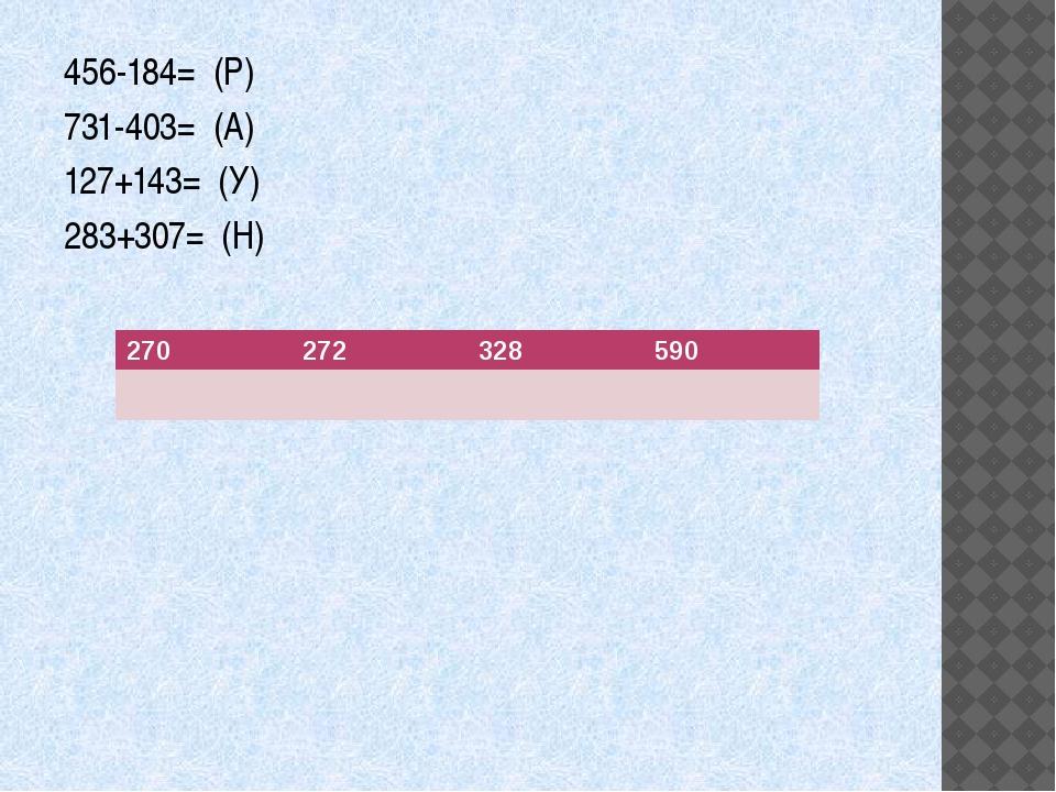 456-184= (Р) 731-403= (А) 127+143= (У) 283+307= (Н) 270 272 328 590