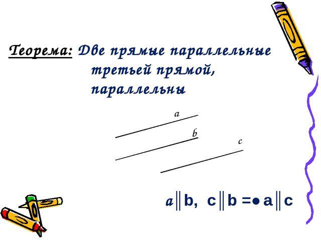Теорема: Две прямые параллельные третьей прямой, параллельны а║b, c║b =˃ а║с...