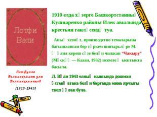 1910 елда хәзерге Башкортстанның Кушнаренко районы Илек авылында крестьян гаи