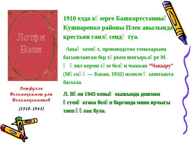 1910 елда хәзерге Башкортстанның Кушнаренко районы Илек авылында крестьян гаи...