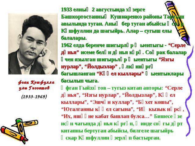 1933 елның 2 августында хәзерге Башкортостанның Кушнаренко районы Тартыш авыл...