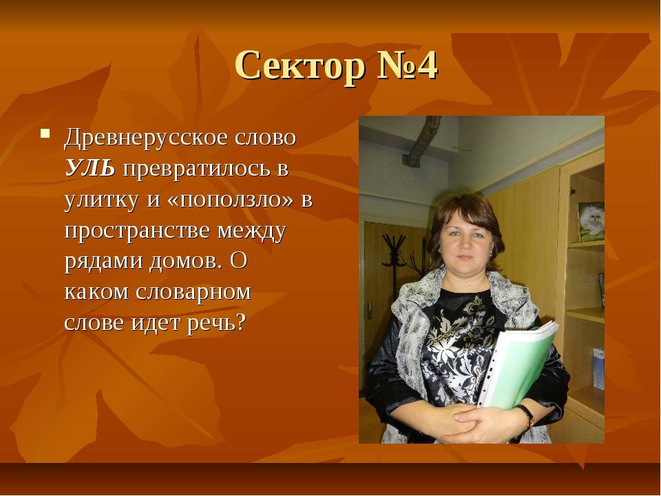 Сектор №4 Древнерусское слово УЛЬ превратилось в улитку и «поползло» в прост...
