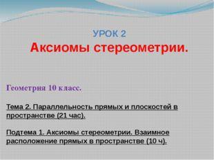 УРОК 2 Аксиомы стереометрии. Геометрия 10 класс. Тема 2. Параллельность прямы